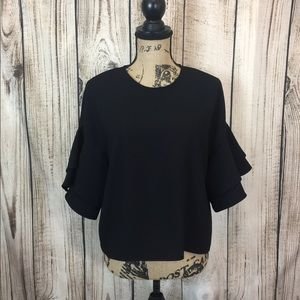 Zara Black Euffle Sleeve Career Blouse Small